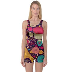 Cute Colorful Doodles Colorful Cute Doodle Paris One Piece Boyleg Swimsuit