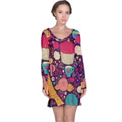 Cute Colorful Doodles Colorful Cute Doodle Paris Long Sleeve Nightdress