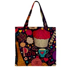 Cute Colorful Doodles Colorful Cute Doodle Paris Zipper Grocery Tote Bag
