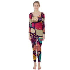 Cute Colorful Doodles Colorful Cute Doodle Paris Long Sleeve Catsuit