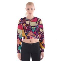 Cute Colorful Doodles Colorful Cute Doodle Paris Cropped Sweatshirt