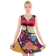 Cute Colorful Doodles Colorful Cute Doodle Paris V Neck Sleeveless Skater Dress