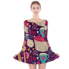 Cute Colorful Doodles Colorful Cute Doodle Paris Long Sleeve Velvet Skater Dress