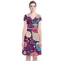 Cute Colorful Doodles Colorful Cute Doodle Paris Short Sleeve Front Wrap Dress