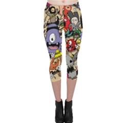 Hipster Wallpaper Pattern Capri Leggings