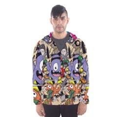 Hipster Wallpaper Pattern Hooded Wind Breaker (men)