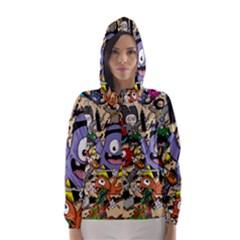 Hipster Wallpaper Pattern Hooded Wind Breaker (women)