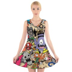 Hipster Wallpaper Pattern V Neck Sleeveless Skater Dress