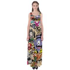 Hipster Wallpaper Pattern Empire Waist Maxi Dress