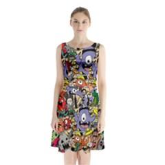 Hipster Wallpaper Pattern Sleeveless Waist Tie Chiffon Dress