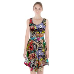Hipster Wallpaper Pattern Racerback Midi Dress