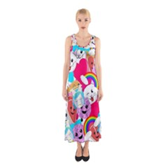 Cute Cartoon Pattern Sleeveless Maxi Dress
