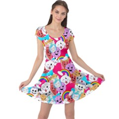 Cute Cartoon Pattern Cap Sleeve Dresses