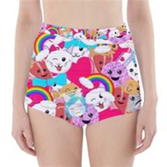 Cute Cartoon Pattern High Waisted Bikini Bottoms