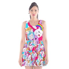 Cute Cartoon Pattern Scoop Neck Skater Dress