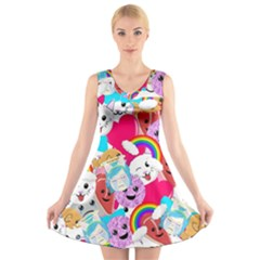 Cute Cartoon Pattern V Neck Sleeveless Skater Dress
