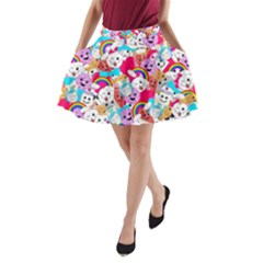 Cute Cartoon Pattern A Line Pocket Skirt