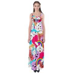 Cute Cartoon Pattern Empire Waist Maxi Dress