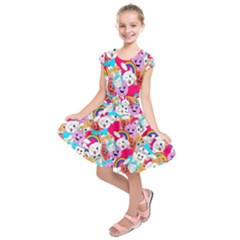 Cute Cartoon Pattern Kids  Short Sleeve Dress