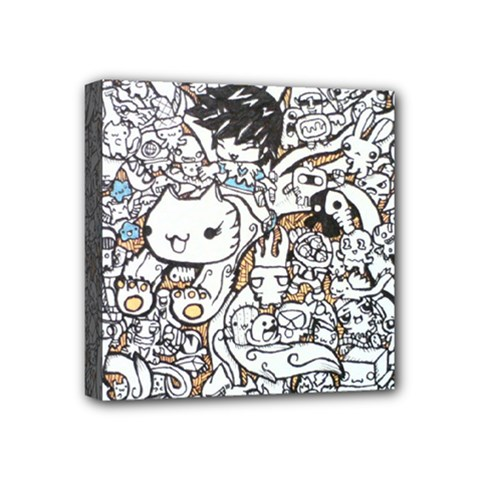 Cute Doodles Mini Canvas 4  x 4