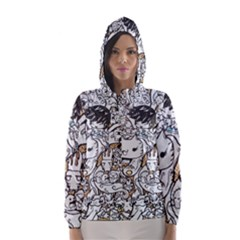 Cute Doodles Hooded Wind Breaker (women)