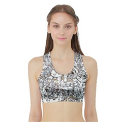 Cute Doodles Sports Bra With Border