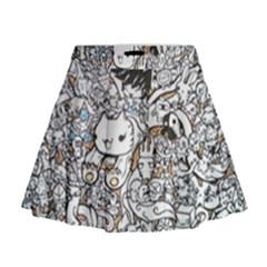 Cute Doodles Mini Flare Skirt