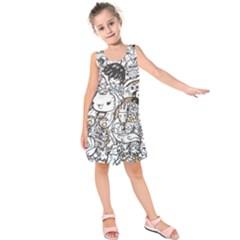 Cute Doodles Kids  Sleeveless Dress