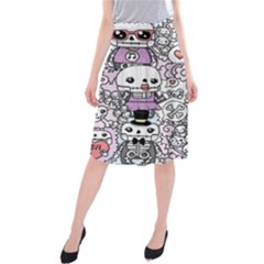 Kawaii Graffiti And Cute Doodles Midi Beach Skirt