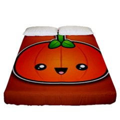 Simple Orange Pumpkin Cute Halloween Fitted Sheet (queen Size)
