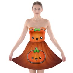 Simple Orange Pumpkin Cute Halloween Strapless Bra Top Dress