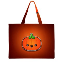 Simple Orange Pumpkin Cute Halloween Large Tote Bag