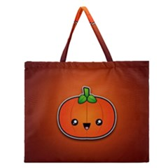 Simple Orange Pumpkin Cute Halloween Zipper Large Tote Bag