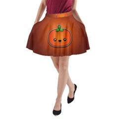 Simple Orange Pumpkin Cute Halloween A-Line Pocket Skirt