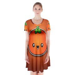 Simple Orange Pumpkin Cute Halloween Short Sleeve V-neck Flare Dress
