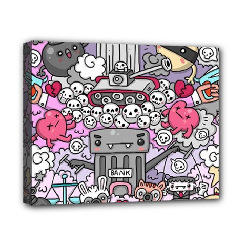 0 Sad War Kawaii Doodle Canvas 10  X 8
