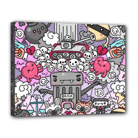 0 Sad War Kawaii Doodle Canvas 14  X 11