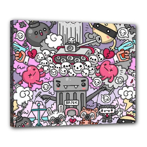 0 Sad War Kawaii Doodle Canvas 20  x 16