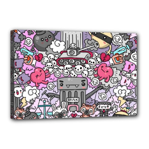 0 Sad War Kawaii Doodle Canvas 18  X 12