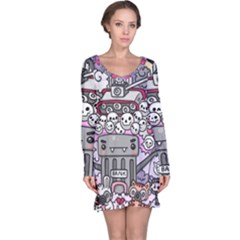 0 Sad War Kawaii Doodle Long Sleeve Nightdress