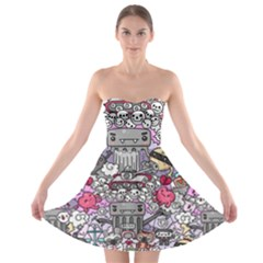 0 Sad War Kawaii Doodle Strapless Bra Top Dress