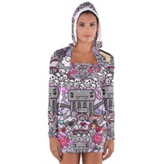 0 Sad War Kawaii Doodle Women s Long Sleeve Hooded T-shirt
