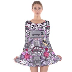 0 Sad War Kawaii Doodle Long Sleeve Velvet Skater Dress