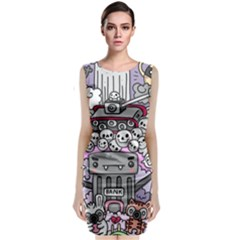 0 Sad War Kawaii Doodle Classic Sleeveless Midi Dress