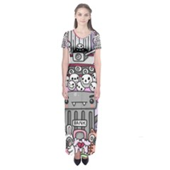 0 Sad War Kawaii Doodle Short Sleeve Maxi Dress