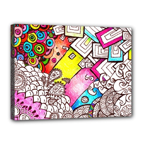 Beautiful Colorful Doodle Canvas 16  x 12