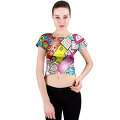 Beautiful Colorful Doodle Crew Neck Crop Top