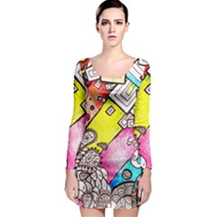 Beautiful Colorful Doodle Long Sleeve Bodycon Dress