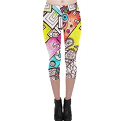 Beautiful Colorful Doodle Capri Leggings