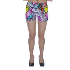 Beautiful Colorful Doodle Skinny Shorts
